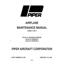 Piper Cherokee Warrior PA-28-151 & Warrior II & III PA-28-161 Maintenance Manual $13.95 Part # 761-539