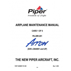 Piper Arrow Maintenance Manual PA-28R-201 $13.95 Part # 761-895