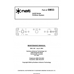 NAT AA20 Series PA Siren System Maintenance Manual 2004 $13.95