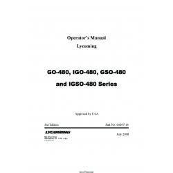 Lycoming GO-480, IGO-480, GSO-480 nad IGSO-480 Series Operator's Manual v2008 60297-14 $29.95