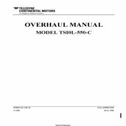 Continental Model TSI0L-550-C Overhaul Manual OH-15 Form No. OH-15 $29.95