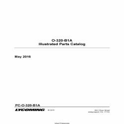 Lycoming O-320-B1A Illustrated Parts Catalog PC-O-320-B1A 2016 $19.95