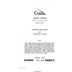 Cessna Electronic Installations and Service/ Parts Manual D654-13 $19.95