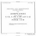 Piper Cub Army Models L-4A, L-4B, L-4H & L-4J Erection & Maintenance Instructions AN 01-140DA-2 1945 $4.95