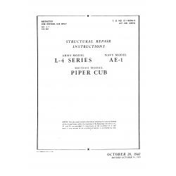 Piper Cub Structural Repair Instruction models L-4 series AE-1  1942-1943 $ 12.95