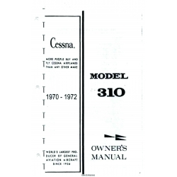 Cessna Model 310Q Owner's Manual (1970-1972) $13.95