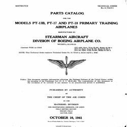 Boeing-Stearman PT-13B, PT-17 & PT-18 Primary Training Airplanes Parts Catalog 1941
