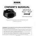 Kohler Model KT17 (17 hp), KT19 (19hp) Series II Owners Manual 1987-1995