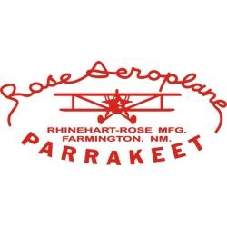 Rose Aeroplane Parrakeet Aircraft Decal/Sticker 7 3/4''h x 13''w!