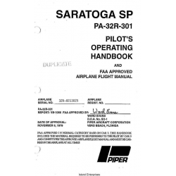 Saratoga SP PA-32R-301 Pilot's Operating Handbook $29.95