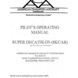 Super Decathlon 8KCAB Pilot's Operating Manual $9.95