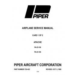 Piper Apache PA-23-150 & PA-23-160 Service Manual $13.95 Part # 752-422