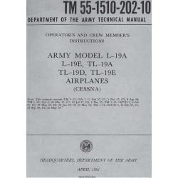 TM 55-1510-202-10 Army Model L-19A, L-19E, TL-19A, TL19D, TL-19E Airplanes