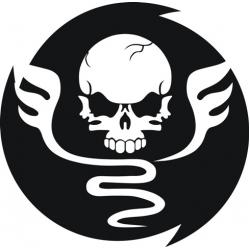 "2 Winged Skull Decal/Sticker 6"" Round!"