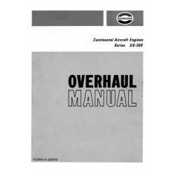 Continental Overhaul Manual X-30019 GO-300 -A-B-C-D & -E Series $13.95