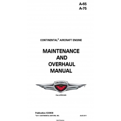 Continental A-65,A-75 Maintenance and Overhaul Manual X30008 $19.95