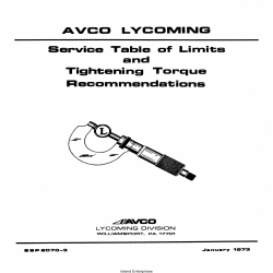 Lycoming SSP-2070-3 Service Table of Limits and Tightening Torque Recommendations 1973 $6.95